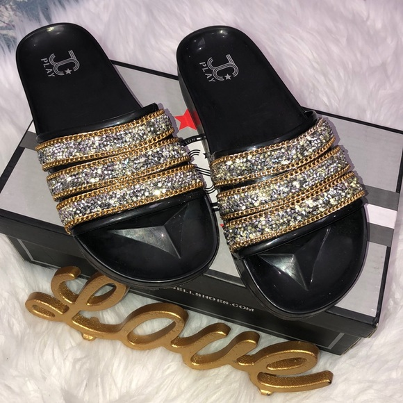7de3116edda7 JC Play Black with Rhinestones and chains slides 6